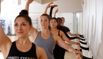Members during barre class